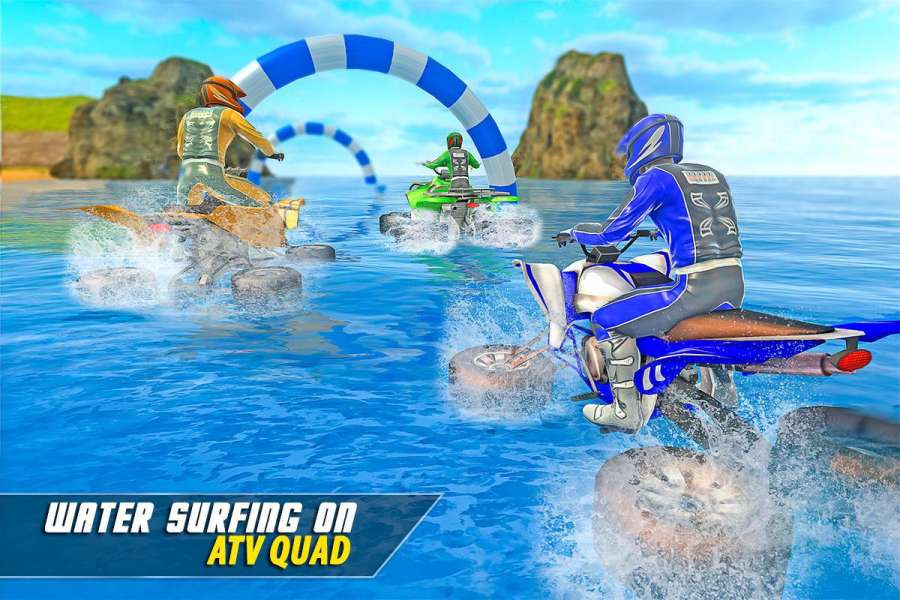 水上冲浪四轮摩托车骑手