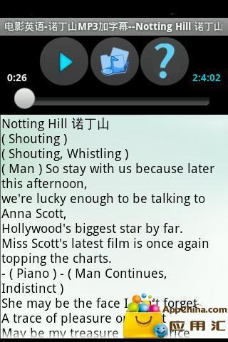 电影英语-诺丁山MP3加字幕