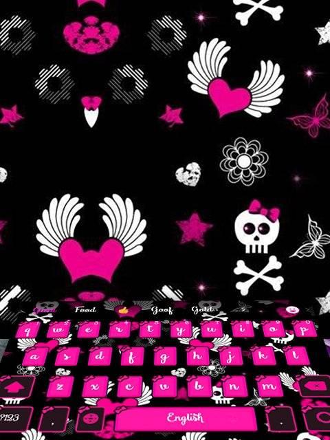 粉紅弓頭骨少女愛心卡哇伊主題愛心符號鍵盤主題打字機