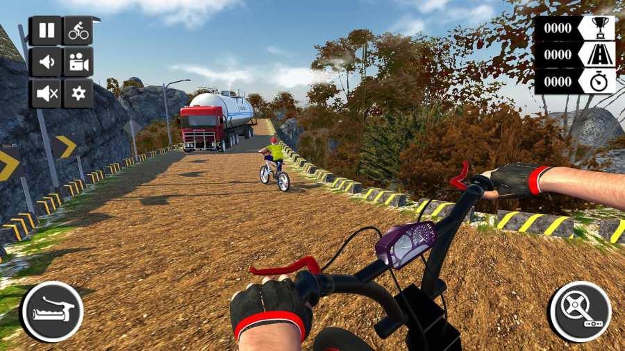 山地车下坡BMX自行车比赛和四特技