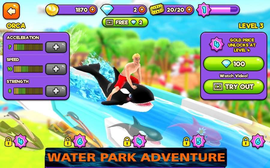 水上公園幻燈片冒險3d