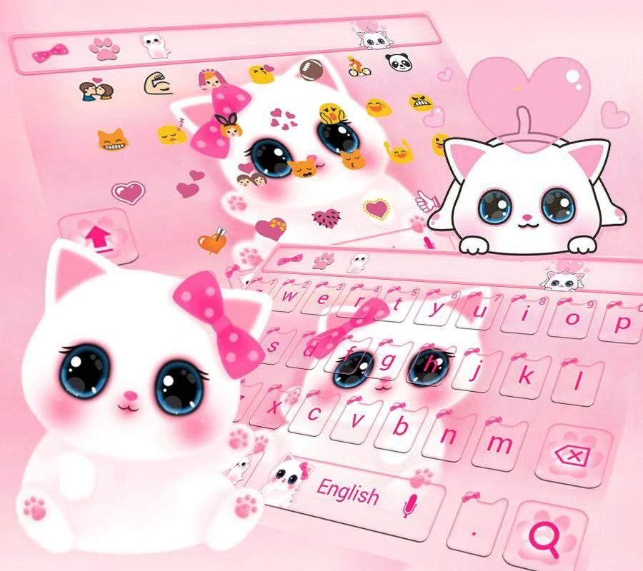 可愛粉色小貓鍵盤主題 emoji表情鍵盤 + 語音輸入