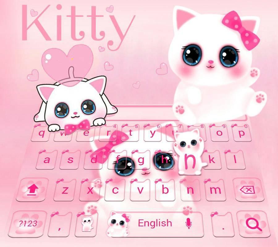 可爱粉色小猫键盘主题 emoji表情键盘 + 语音输入截图1