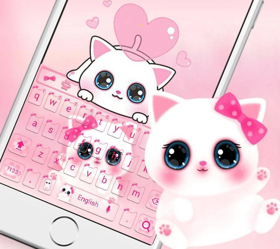 可爱粉色小猫键盘主题 emoji表情键盘 + 语音输入截图2