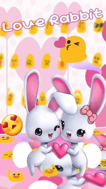可愛愛心兔子鍵盤主題 emoji表情鍵盤 云預測語音輸入