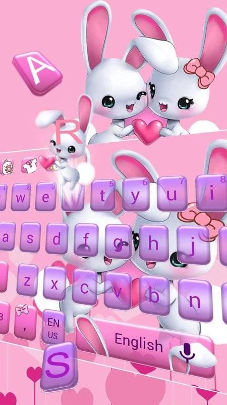 可爱爱心兔子键盘主题 emoji表情键盘 云预测语音输入截图1