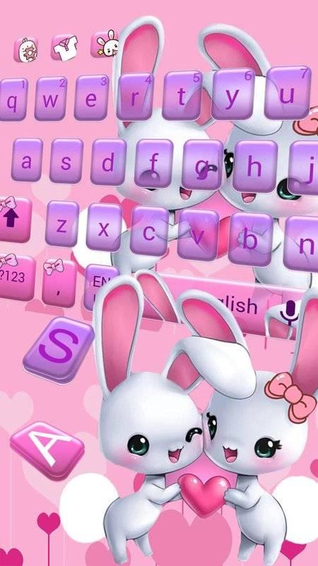 可爱爱心兔子键盘主题 emoji表情键盘 云预测语音输入截图2