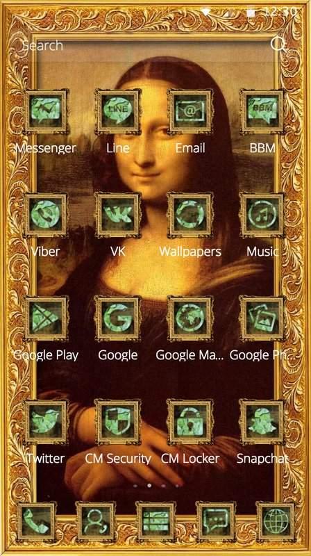 蒙娜丽莎的微笑出自意大利画家达芬奇之手油画著作手机桌面主题截图1