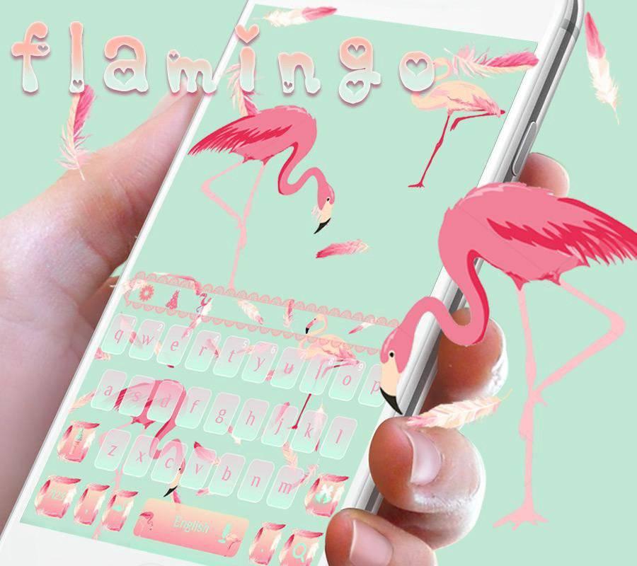 粉色火烈鸟键盘主题 时尚蕾丝壁纸让爱自由