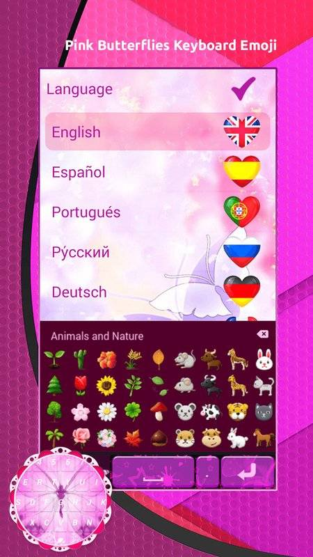 粉红色蝴蝶键盘表情符号