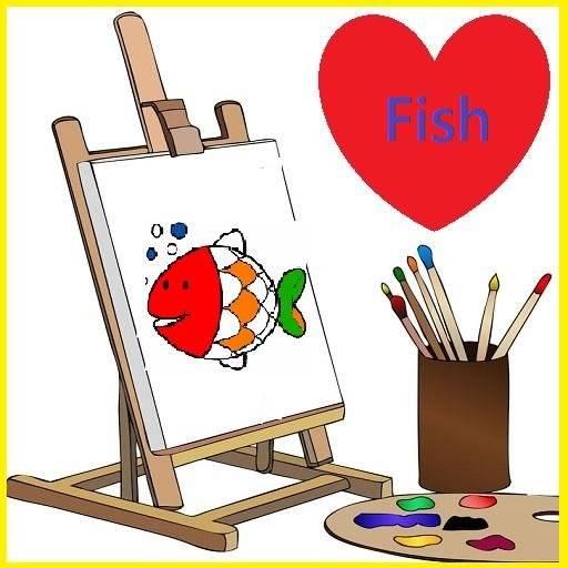 可愛海洋魚類畫