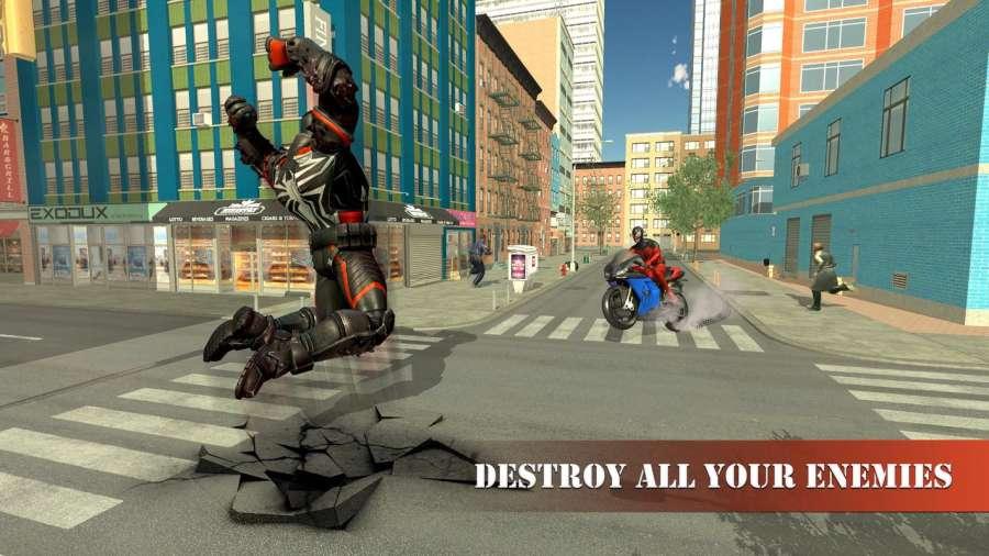 超级蜘蛛英雄飞行自行车城市之战截图1
