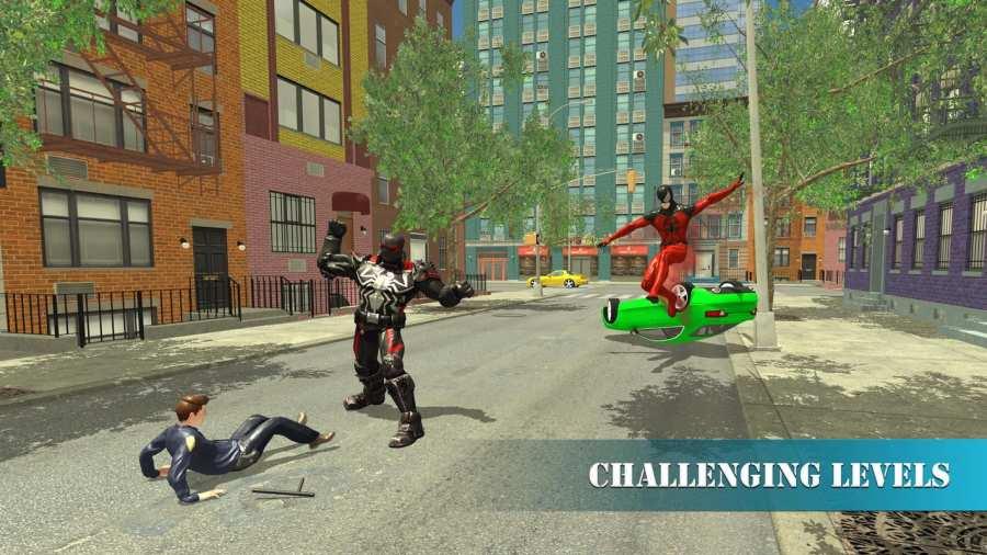 超级蜘蛛英雄飞行自行车城市之战截图3
