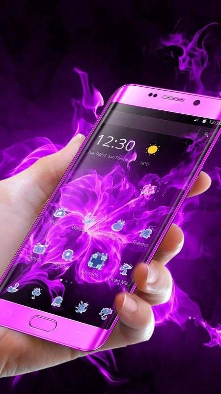 霓虹紫色花卉主題