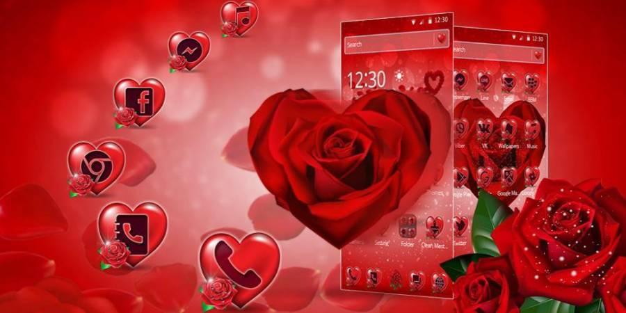 紅玫瑰花瓣主題截图0