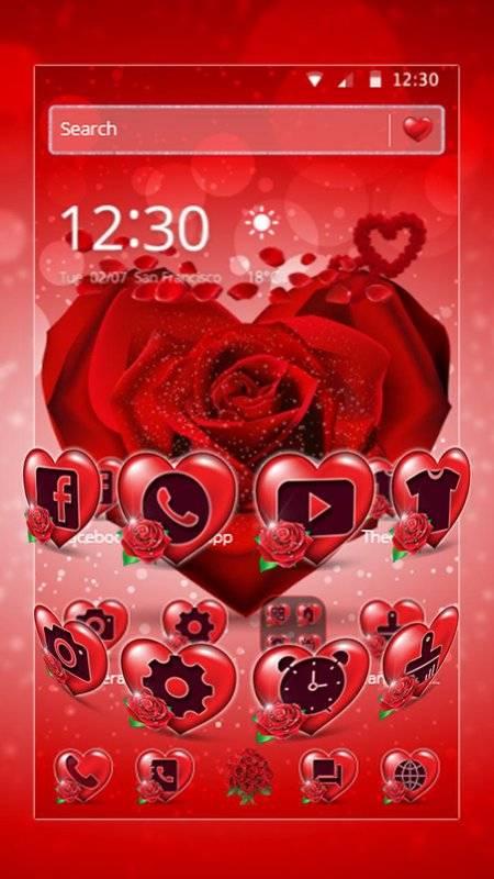 紅玫瑰花瓣主題截图2