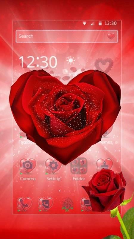紅玫瑰花瓣主題截图5