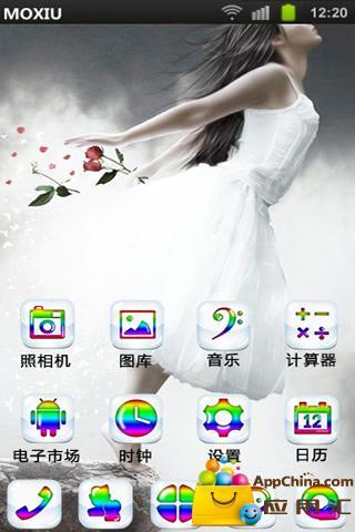 白裙美女桌面主题—魔秀 工具 App-愛順發玩APP