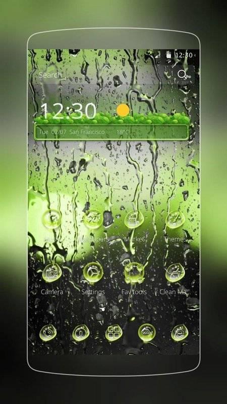 綠色多雨水滴-美化三星/華為/索尼/LG等安卓手機