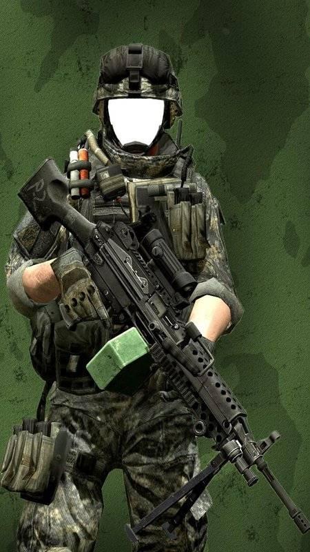 现代士兵照片蒙太奇