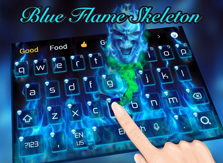 蓝色地狱火焰头骨键盘主题