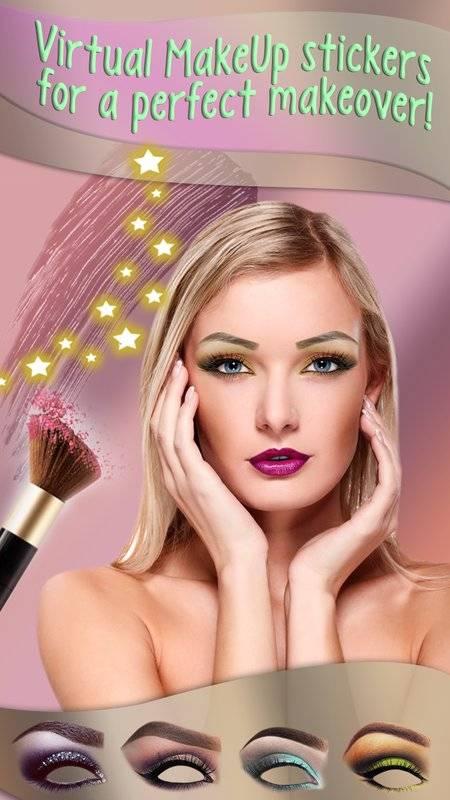 化妆 美颜相机 图片编辑器 - 虚拟美容院 贴纸 照片蒙太奇截图1