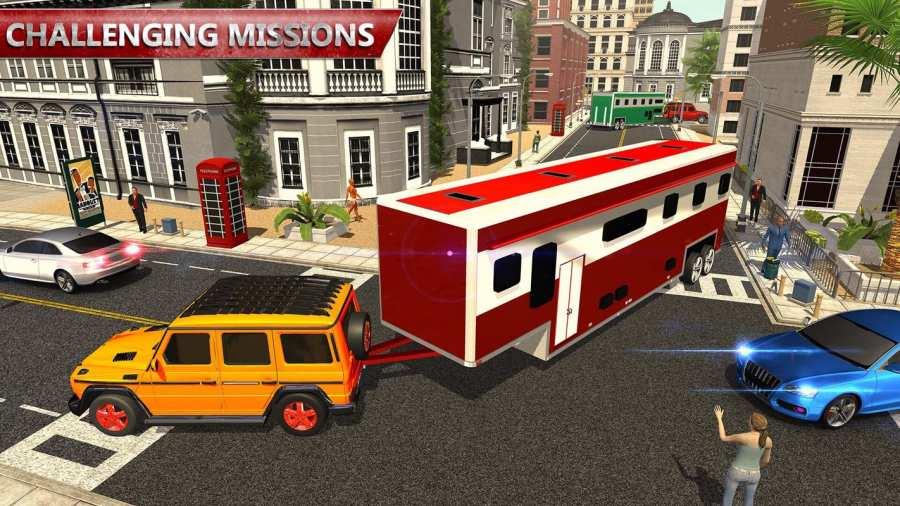 露营大篷车驾驶模拟器:沙滩游戏截图1