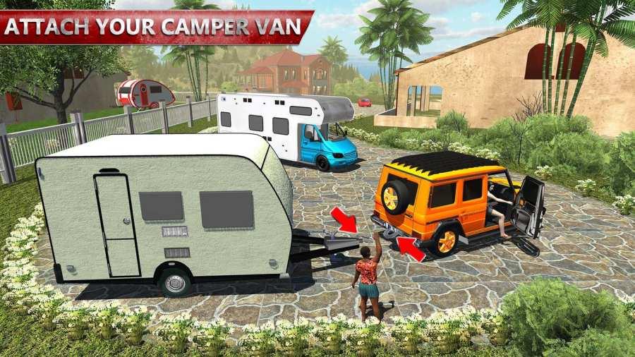 露营大篷车驾驶模拟器:沙滩游戏截图2