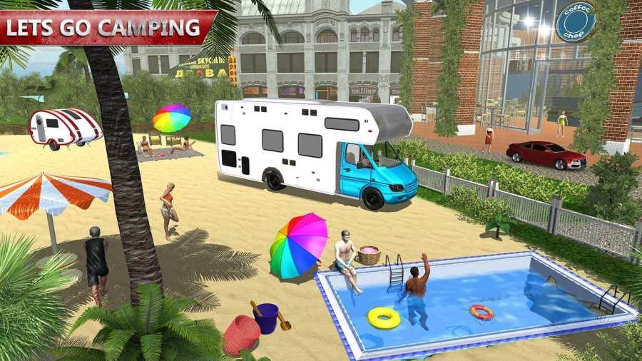 露营大篷车驾驶模拟器:沙滩游戏截图5