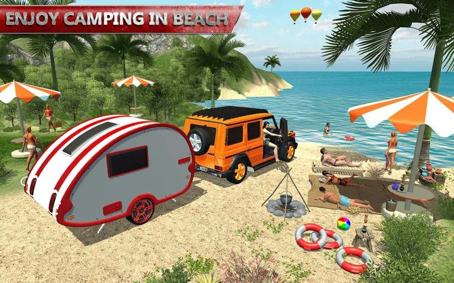 露营大篷车驾驶模拟器:沙滩游戏截图6