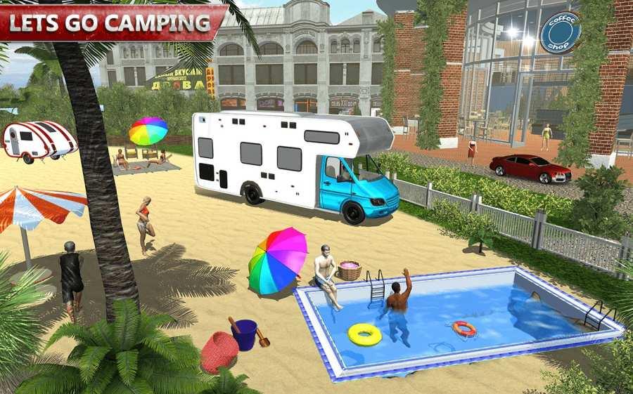露营大篷车驾驶模拟器:沙滩游戏截图7