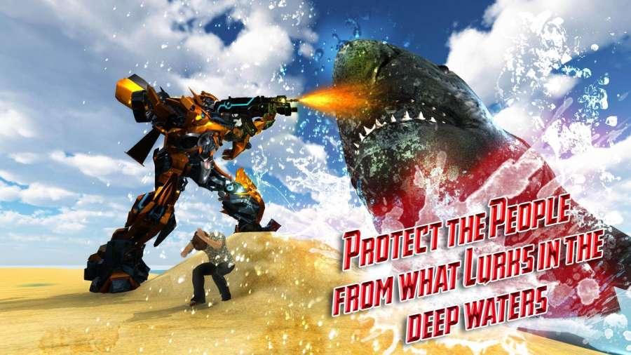 汽车机器人鲨鱼狩猎 - 怪物鲨鱼生存截图2