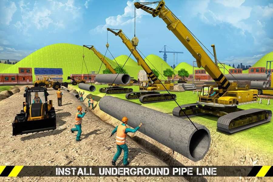 城市道路生成器施工挖掘机模拟器截图0