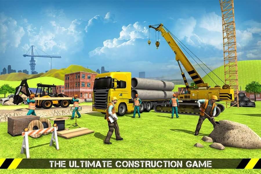 城市道路生成器施工挖掘机模拟器截图2