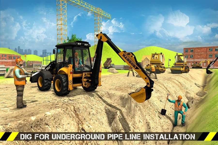 城市道路生成器施工挖掘机模拟器截图3
