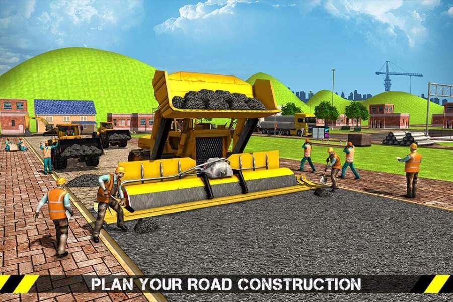 城市道路生成器施工挖掘机模拟器截图4