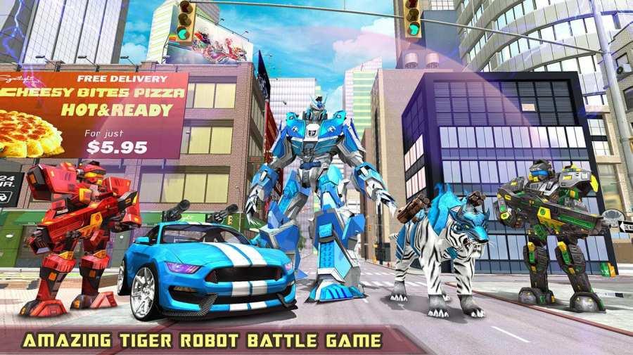 美国警方白虎机器人汽车变形游戏