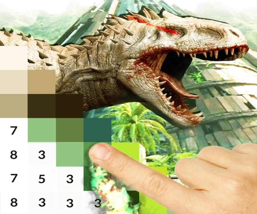 Jurassic Dinosaur Pixel Art: Color Pixel by Number截图0