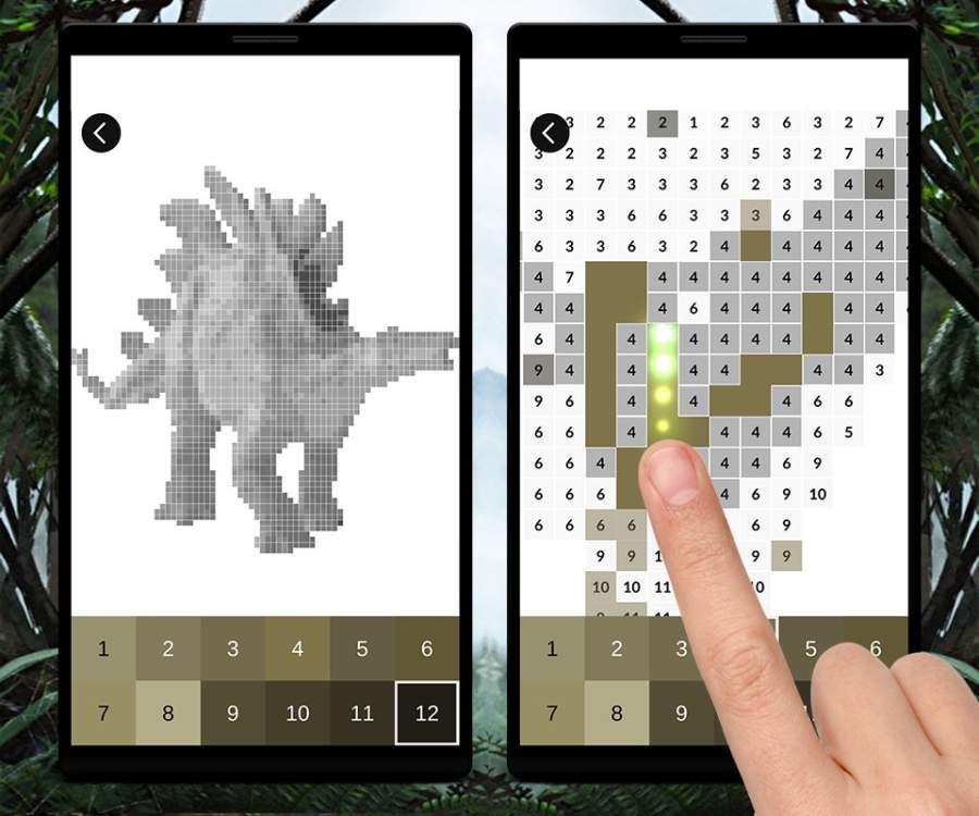 Jurassic Dinosaur Pixel Art: Color Pixel by Number截图1