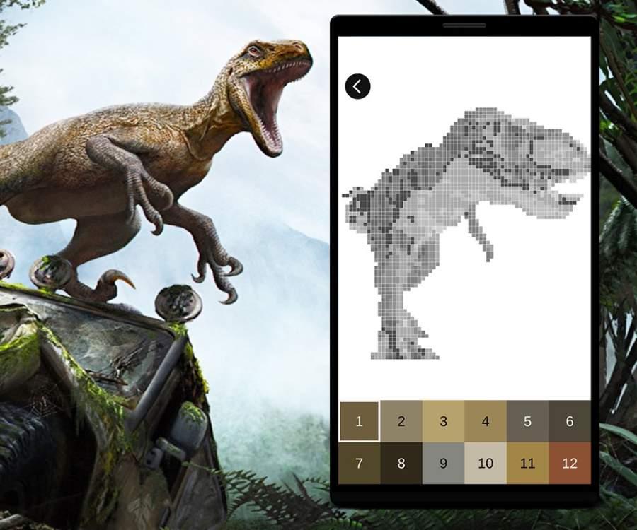 Jurassic Dinosaur Pixel Art: Color Pixel by Number截图2