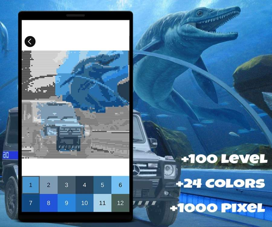 Jurassic Dinosaur Pixel Art: Color Pixel by Number截图3