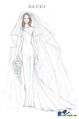 铅笔画婚纱的画法